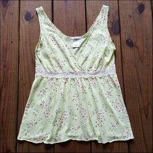 XS Lime Green Red Floral Lace Low Cut Tank Top